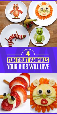4 Easy-To-Make Fruit Animals Your Kids Will Love - Obst Leckere Fruit Decoration For Party, Fruit Decorations, Animal Snacks, Fruit Animals, Salads For Kids, Fruits For Kids, Kids Fruit, Fruit Juice Recipes, Fruit Snacks
