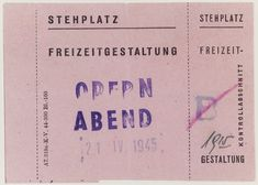 Standing room ticket for an opera performed on April 21, 1945, in the Theresienstadt ghetto.