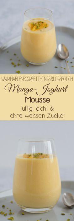 Mango Joghurt Mousse besteht nur aus wenigen Zutaten und ist im Nu zubereitet. Das Dessert aus dem Glas ist ohne weissen Zucker hergestellt und auch der Rahm ist reduziert.