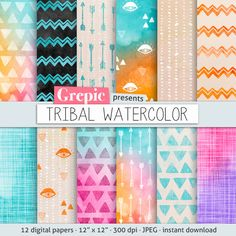 "Tribal digital paper: ""TRIBAL WATERCOLOR"" with playful hand drawn tribal patterns in watercolor purple, pink, yellow, arrows, triangles"