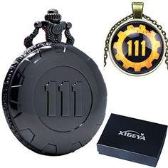 xigeya® Classic antik schwarz Extensions Fallout 4Thema Anhänger Vault 111Steampunk Taschenuhr Quarzuhr für Game Fans + Halskette + Geschenk-Box