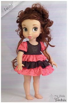 Chocolatey brown and pink ruffled dress for your Disney Animator Doll!    Make your little girl feel super sweet with this sugary pink and
