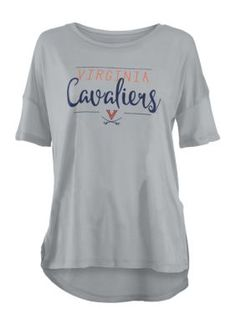 Royce Virginia Cavaliers Hip Script Short Sleeve Tee Shirt - Gray - L