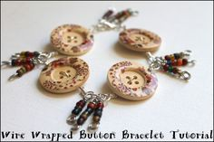 Wire Wrapped Button Bracelet Tutorial PLUS video tutorial!  #wirewrap #buttons #jewelrymaking