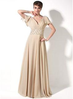A-Line/Princess V-neck Floor-Length Chiffon Mother of the Bride Dress With Beading Cascading Ruffles (008006417)