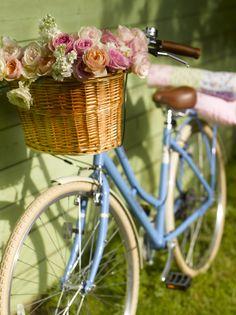Adorable blue #bike                                     #flowerbicycle