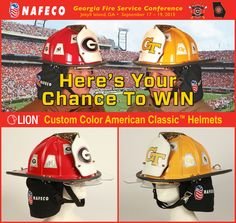 Join us this week(end) at GFSC! Stop by NAFECO's booth at Georgia Fire Service Conference on September 17-19, 2015 in Jekyll Island, GA and register to win one of these LION Custom Color Helmets.