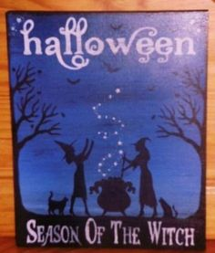 primitve Halloween Signs Season of the Witch Primitives samhain Plaque Cats witchcraft coven magic spells cauldron by SleepyHollowPrims for $27.00