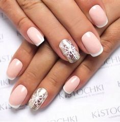 perfect pink nail art designs ideas for christmas - WB Silver French Manicure, French Manicure Designs, French Nail Art, Silver Nails, French Manicures, Nails Design, Nail Art Design Gallery, Best Nail Art Designs, Winter Nail Designs