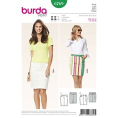 Denim skirts are always of interest and a real evergreen, no matter whether in blue, white, with stripes or floral prints. Body-hugging variants in two lengths with bias cut side seams and shaped waistband. A Burda Style sewing pattern.