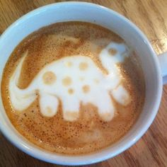 Dinosaur - The kid in you couldn't help but have a good day after receiving this on your morning cup of joe.