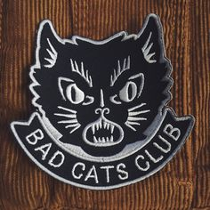 """Designed by Daggers For Teeth especially for Bad Cats Club.Embroidered patch - Measures approximately 4""""*I strongly recommend sewing these patches on but if you do choose to iron on remember to put a cloth over the patch before ironing. Do not put the iron straight onto the patch as it could melt the thread* Pin And Patches, Iron On Patches, Jacket Patches, Halloween Friday The 13th, Funny Patches, Creepy Cat, Cat Patch, Bad Cats, Patch Design"""