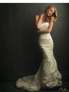 Silk-like  Strapless neckline Empire line Court train Wedding Dress WD-11088