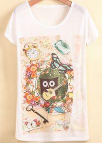 White Short Sleeve Heart Owl Print T-Shirt