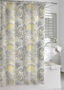 Amazon.com: Kassatex Paisley Shower Curtain, Yellow/Grey, 72 By 72