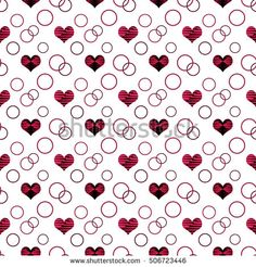 seamless abstract pattern with red hearts in retro style, white  background