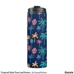 Tropical Palm Tree Leaf Pattern Thermal Tumbler