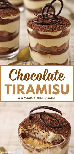 Chocolate tiramisu is a twist on the beloved Italian dessert--it adds several layers of chocolate ganache for a deep, rich chocolate taste. Chocolate Marshmallow Cookies, Chocolate Chip Shortbread Cookies, Toffee Cookies, Yummy Cookies, Italian Chocolate, Chocolate Parfait, Chocolate Tiramisu, Chocolate Ganache, Desserts