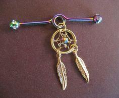 Golden Rainbow Dream Catcher Industrial Piercing Barbell Feather Charm Dangle 14g 14 G Gauge Bar... WANT!!