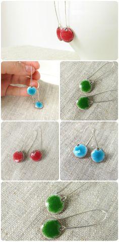 Enamel earrings dangle drop teal blue aqua round dots by alery, $32.00