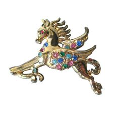 Pegasus Rhinestone Pin  Horse Brooch  Womens Gift  by openslate