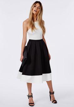 Contrast Panel Hem Scuba Midi Skater Skirt Black - Skirts - Missguided $47.50