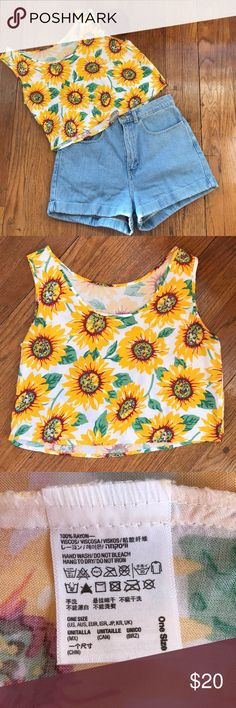 American Apparel sunflower crop top The perfect summer top! Soft rayon fabric. Small hole at bottom corner as shown in picture and small mend made to right arm also shown. One size. American Apparel Tops Crop Tops