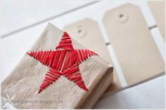 DIY: embroidered gift wrap, tags for special christmas gifts do on fabric or paper , prim , rustic , country shabby chic style what a joy to receive this