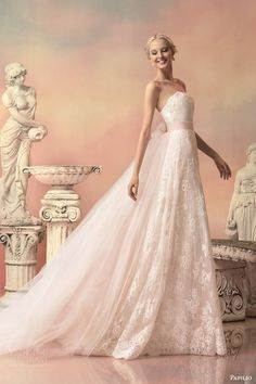 papilio bridal 2015 elissa pale pink lace wedding dress detachable tulle train
