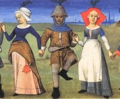 1470 dancing peasants - note that purse would be hidden under the dress
