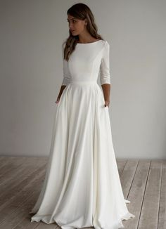 Long Sleeve Wedding, Modest Wedding Dresses, Elegant Dresses, Bridal Dresses, Boat Neck Wedding Dress, Boat Neck Dress, Wedding Dress Pockets, Plain Wedding Dress, Informal Wedding Dresses