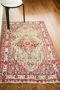 Super awesome antique Persian Kerman rug with worn aesthetic.  Instant beauty!