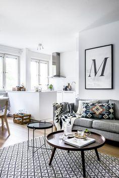 Bright Nordic Kitchen & Living Room Interior
