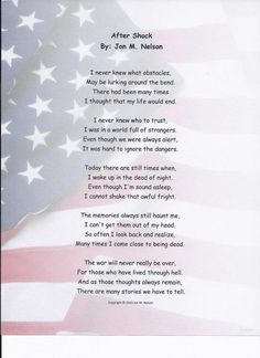 Poem 'After Shock',  about some of the horrors and nightmares that soldiers go through that suffer from PTSD.