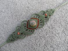 Unakite Macrame bracciale pietra dimensioni circa di LaQuetzal