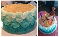 Moana themed beach cake!!!! | Made irl by the original pinner Tania Corrotea (http://pin.it/8r_bu3M)
