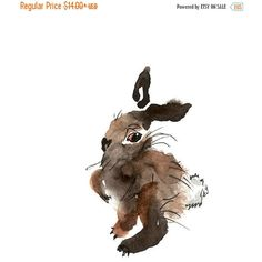 ON SALE SAVE 15% Brown Bunny Rabbit Print From Original Watercolors,... ($12) ❤ liked on Polyvore featuring home, home decor and wall art