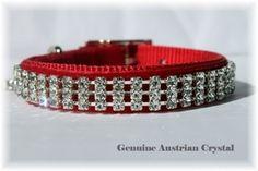 Christmas Austrian Crystal Velvet Dog Collar