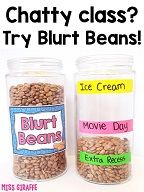 Blurt beans will save your sanity! Complete directions for how to implement this positive behavior management system in your class tomorrow! grundschule 25 Chatty Class Classroom Management Strategies for Overly Talkative Students Positive Behavior Management, Behavior Management System, Classroom Management Strategies, Management Tips, Writing Strategies, Positive Discipline, Positive Reinforcement Kids, Positive Behavior Chart, Classroom Management Techniques