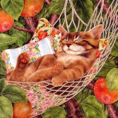 """Sleeping Cats"" - paintings posted by draganescu on http://www.popkitten.com/"