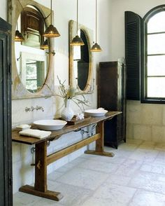 A trestle console table turned into a double vanity.