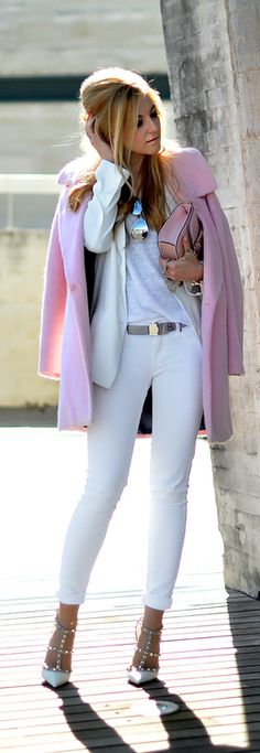 Winter Fashion 2014. We all know the pink coat is the hottest item this season. Loving the mix of whites, accented by Valentino studded pumps.