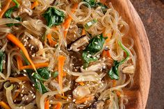 """What to buy: Korean sweet potato noodles, also known as starch noodles or Korean vermicelli, are made from sweet potato starch and water. When cooked, these dried gray noodles turn clear. Do not confuse them with Korean """"cold noodles,"""" which are made from buckwheat. Korean sweet potato noodles can be found in Asian or Korean market"""