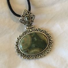 Green Jasper Pendant, Black Suede Necklace, Fancy Hinged Bezel. Offered by HappyLilac