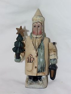 GREG-GUEDEL-Folk-Art-SANTA-CHRISTMAS-TREE-LANTERN-Primitive-Figurine-Christmas