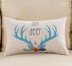 Lyn Cotton Linen Square Throw Pillow Case Decorative Cushion Cover Pillowcase for Sofa Deer Head 20 X 12   12 >>> Read more reviews of the product by visiting the link on the image.