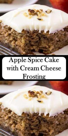 🍎🍎🍎 Apple Spice Cake with Cream Cheese Frosting - My Best Recipe Apple Desserts, Köstliche Desserts, Apple Recipes, Baking Recipes, Dessert Recipes, Spice Cake Recipes, Food Cakes, Cupcake Cakes, Cupcakes