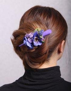 Flower Hair Pieces, Flower Hair Clips, Flowers In Hair, Blue Wedding Flowers, Hair Slide, Bridal Hair Pins, Hair Claw, Wedding Hair Pieces, Floral Hair