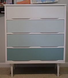 Gradient Color Painted Dressers | Atticmag | Kitchens, Bathrooms, Interior Design. After seeing the Norwegian dresser, Cassie from Primitive & Proper combined a little elbow grease (aka sanding), priming and painting turned a $30 Salvation Army find into another inspirational piece.