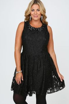 a7ec0587f31 Black Floral Lace Dress With Jewelled Peter Pan Collar Plus Size Dresses  Yours Clothing  plussize